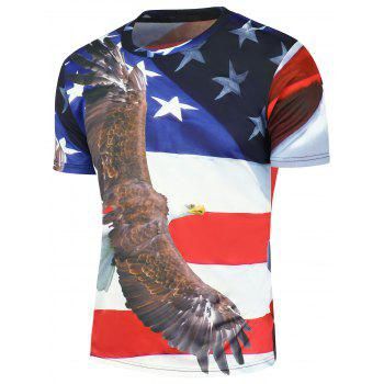 3D Eagle American Flag Print T-Shirt