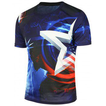 Amercian Flag Statue of Liberty T-shirt imprimé