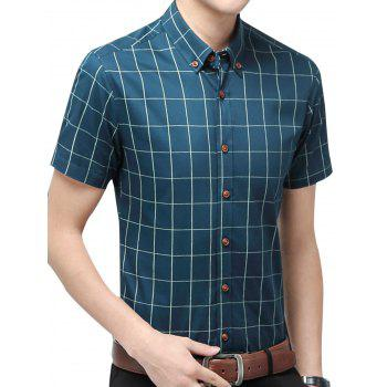 Slim Fit Short Sleeve Checkered Shirt - LAKE BLUE 3XL
