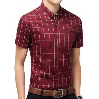 Slim Fit Short Sleeve Checkered Shirt - WINE RED L