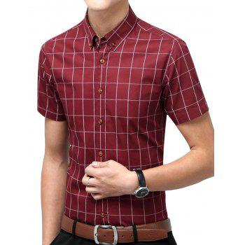 Slim Fit Short Sleeve Checkered Shirt - WINE RED 2XL