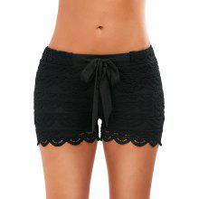 Drawstring Cut Off Crochet Lace Shorts