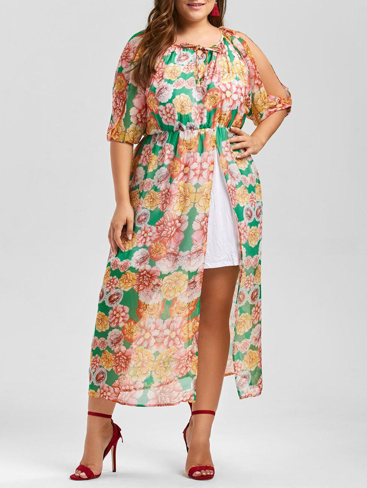 Split Sleeve Chiffon Floral A Line Plus Size Dress - multicolor 3XL