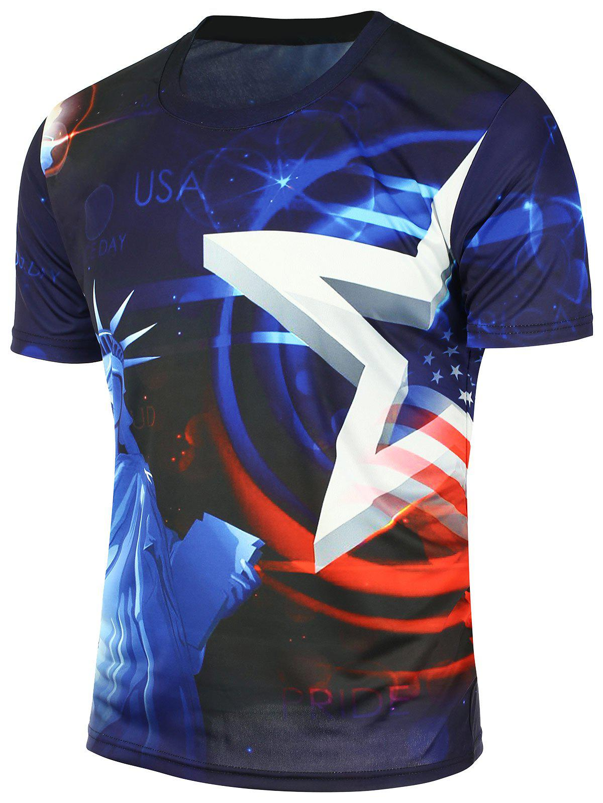 American Flag Statue of Liberty Printed T-Shirt - BLUE XL