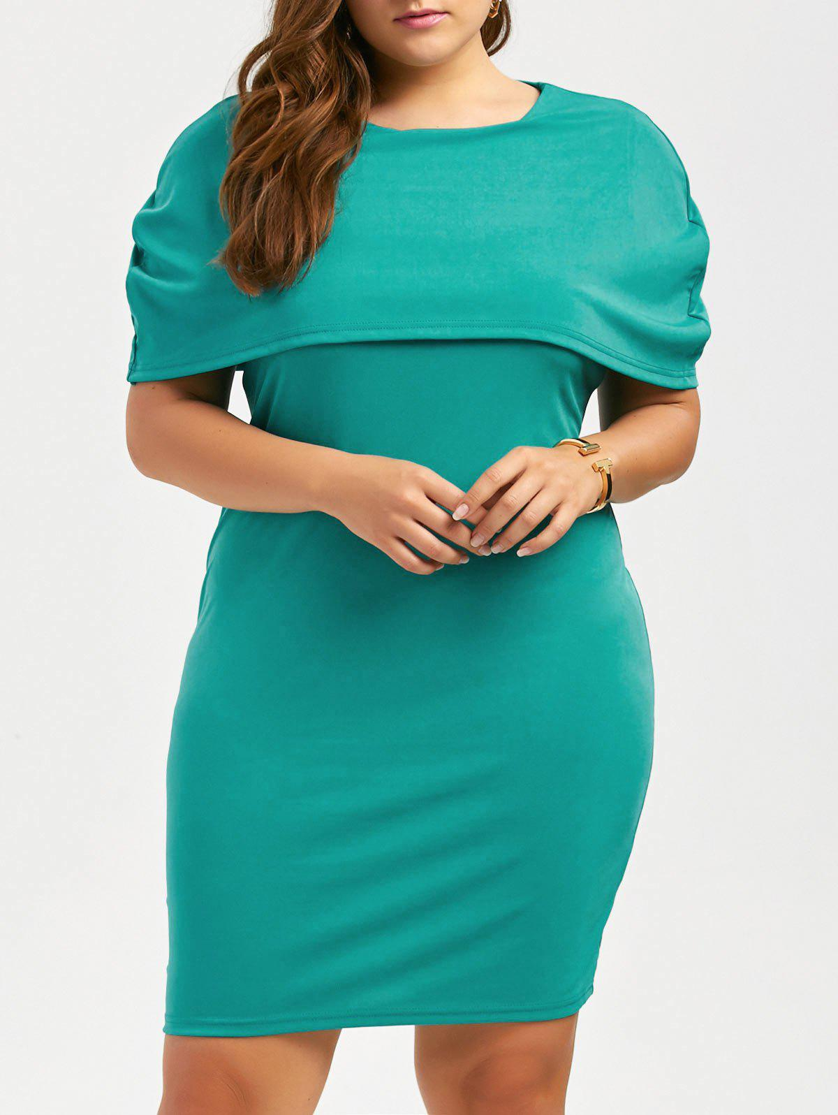 Plus Size Knee Length Bodycon Formal Cape Dress - BLUE GREEN 6XL