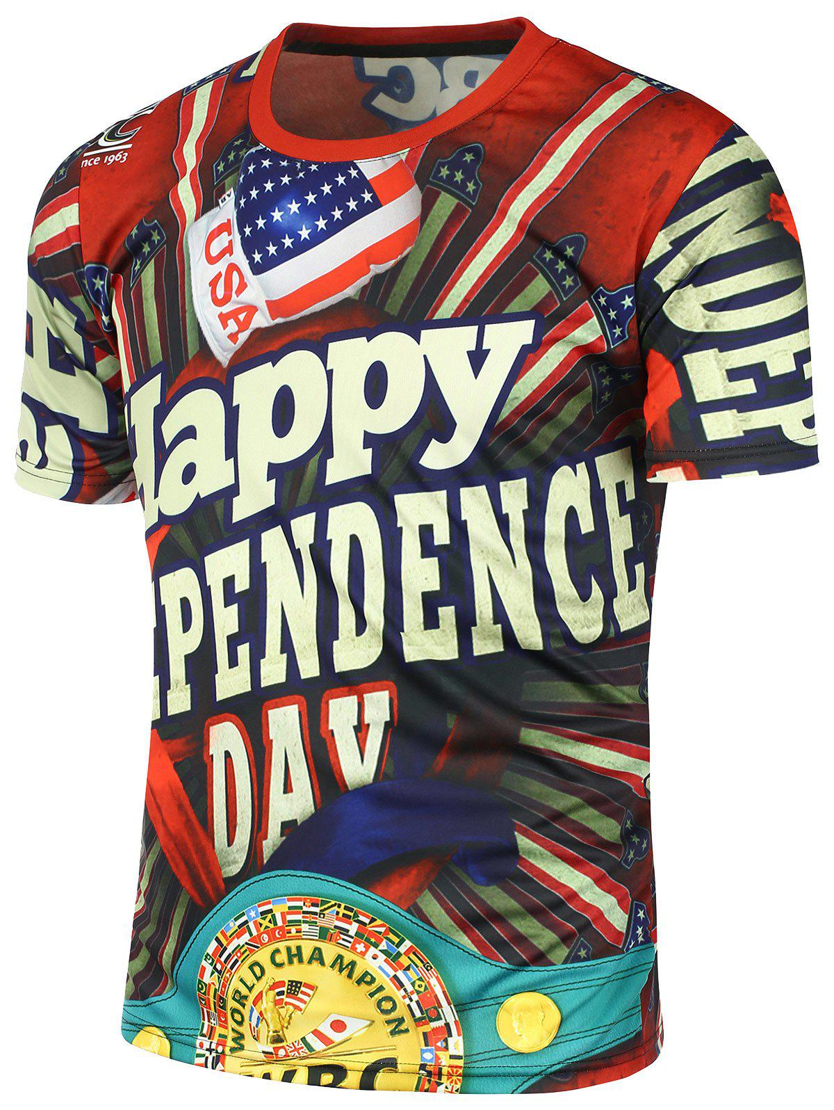 Short Sleeve Independence Day American Flag Printed T-shirt