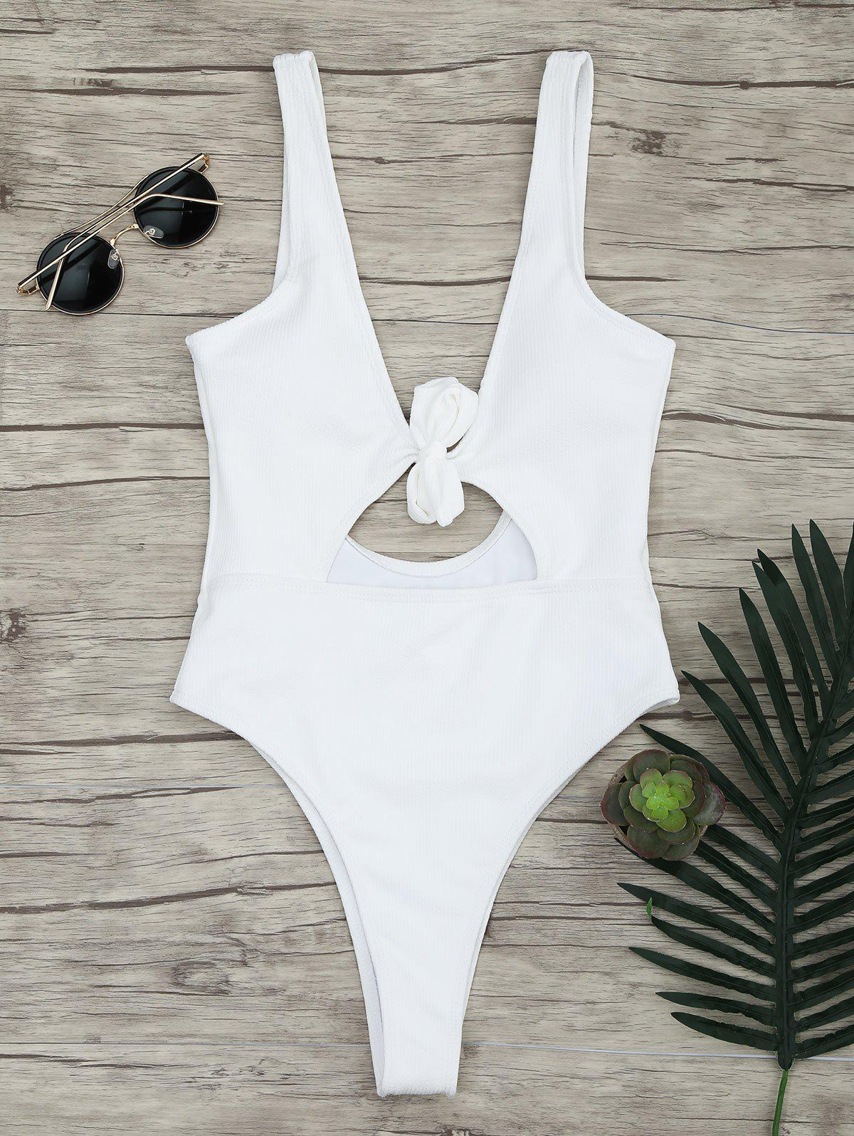 Ribbed Knot Backless One Piece Swimsuit цена