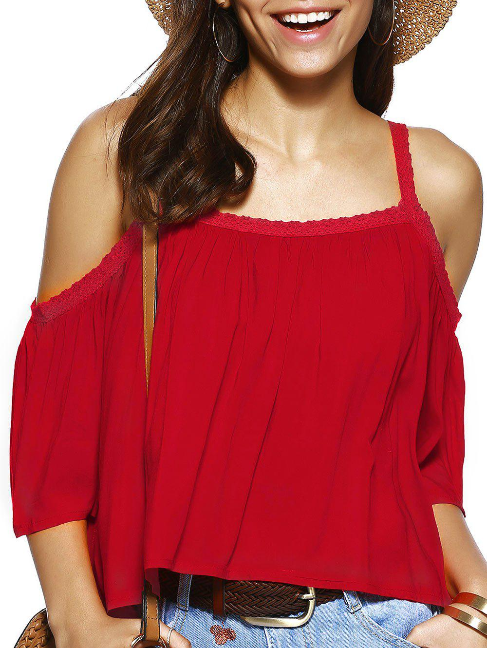Spaghetti Strap Solid Color Loose Fitting Blouse - RED L
