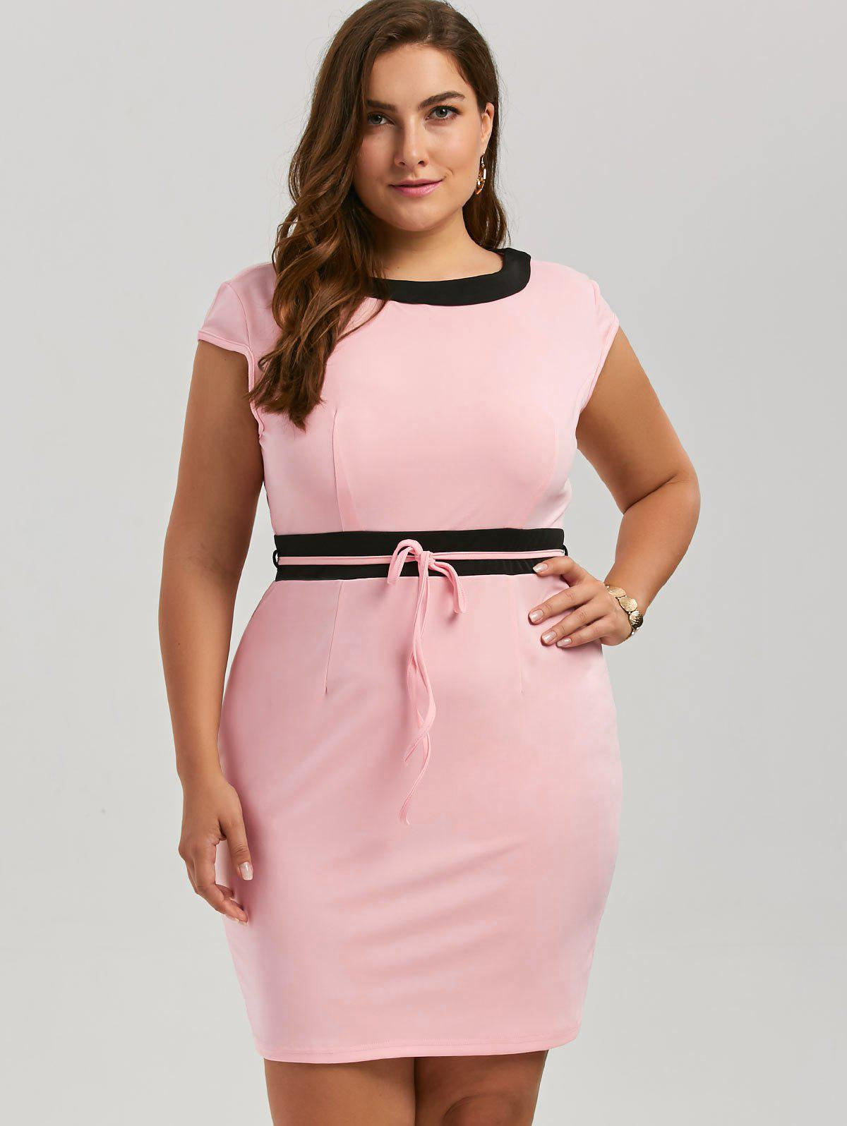Plus Size Contrast Sleeveless Mini Bodycon Dress - PINK 5XL
