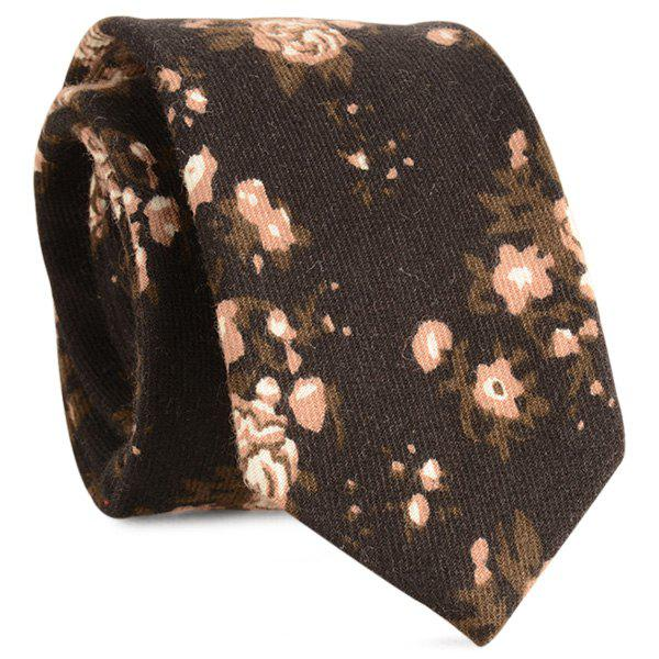 Cotton Blended Retro Flowers Printed Neck Tie - BLACK