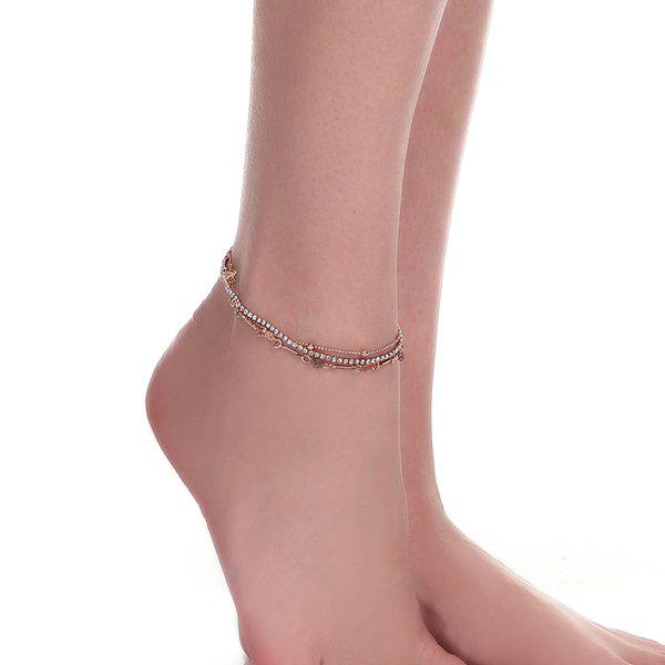 Rhinestone Layered Rose Flower Chain Anklet - GOLDEN