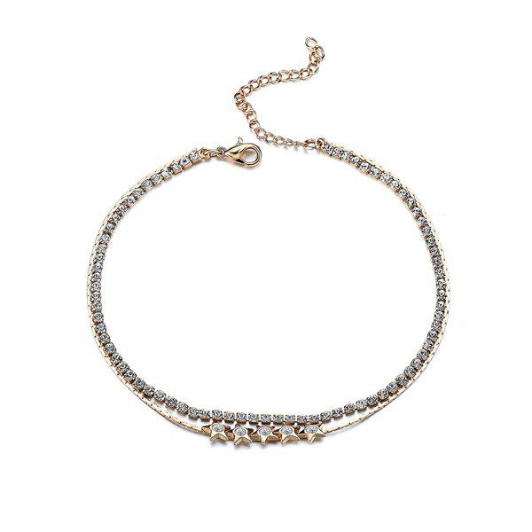 Multilayered Rhinestone Star Chain Anklet - GOLDEN