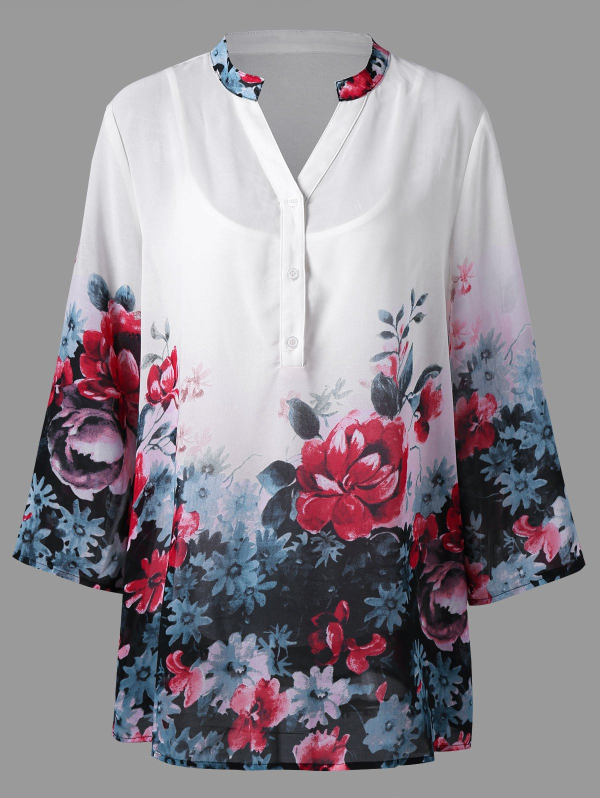 Plus Size Split Neck Floral Blouse with Camisole studio m new black white printed split neck womens size small s tunic blouse $78