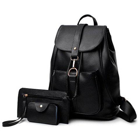 PU Leather 3 Pieces Backpack Set - BLACK