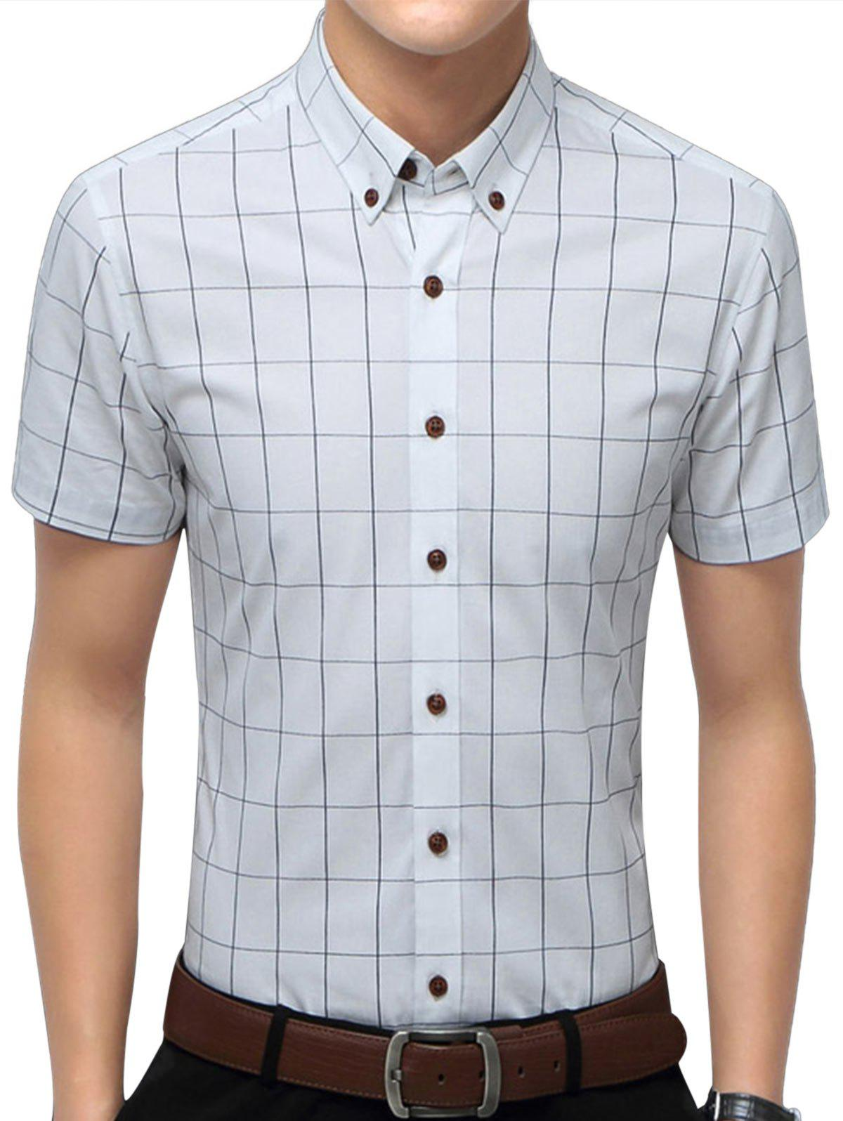 Slim Fit Short Sleeve Checkered Shirt - WHITE XL