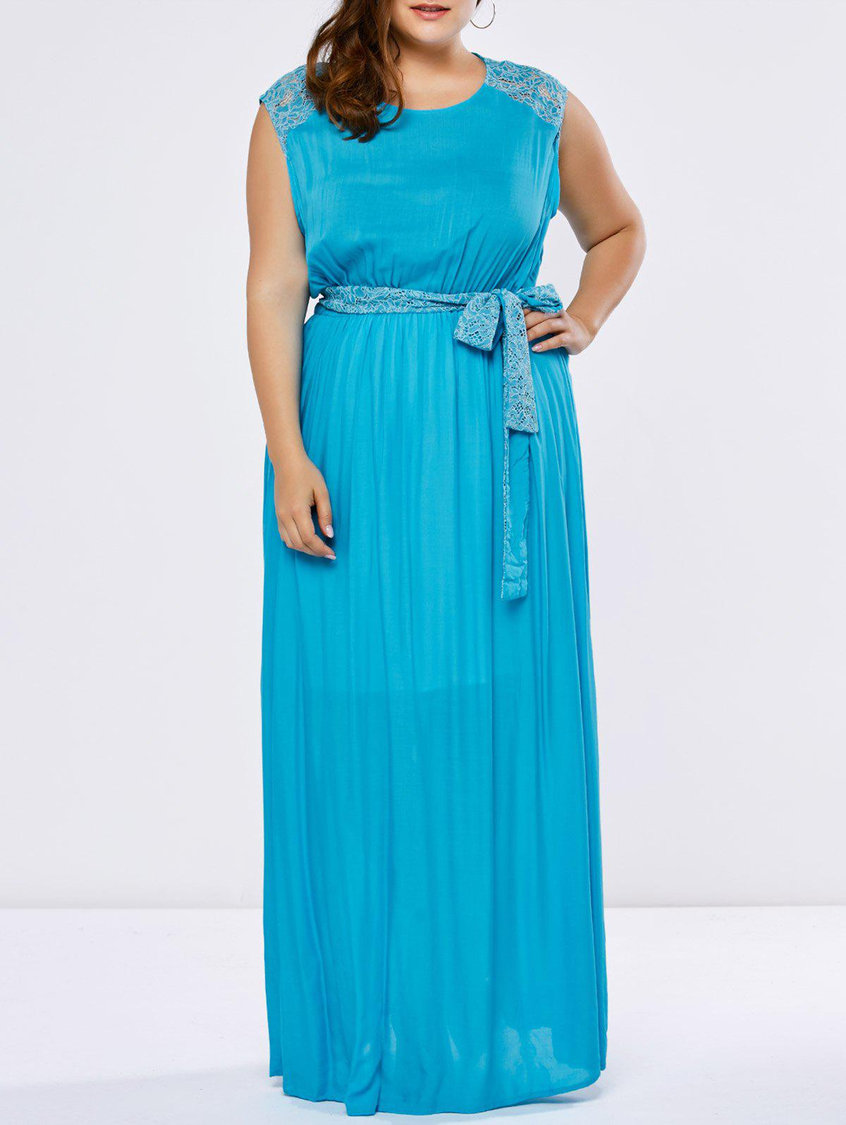 2018 Lace Trim Floor Length Plus Size Prom Dress LAKE BLUE XL In ...