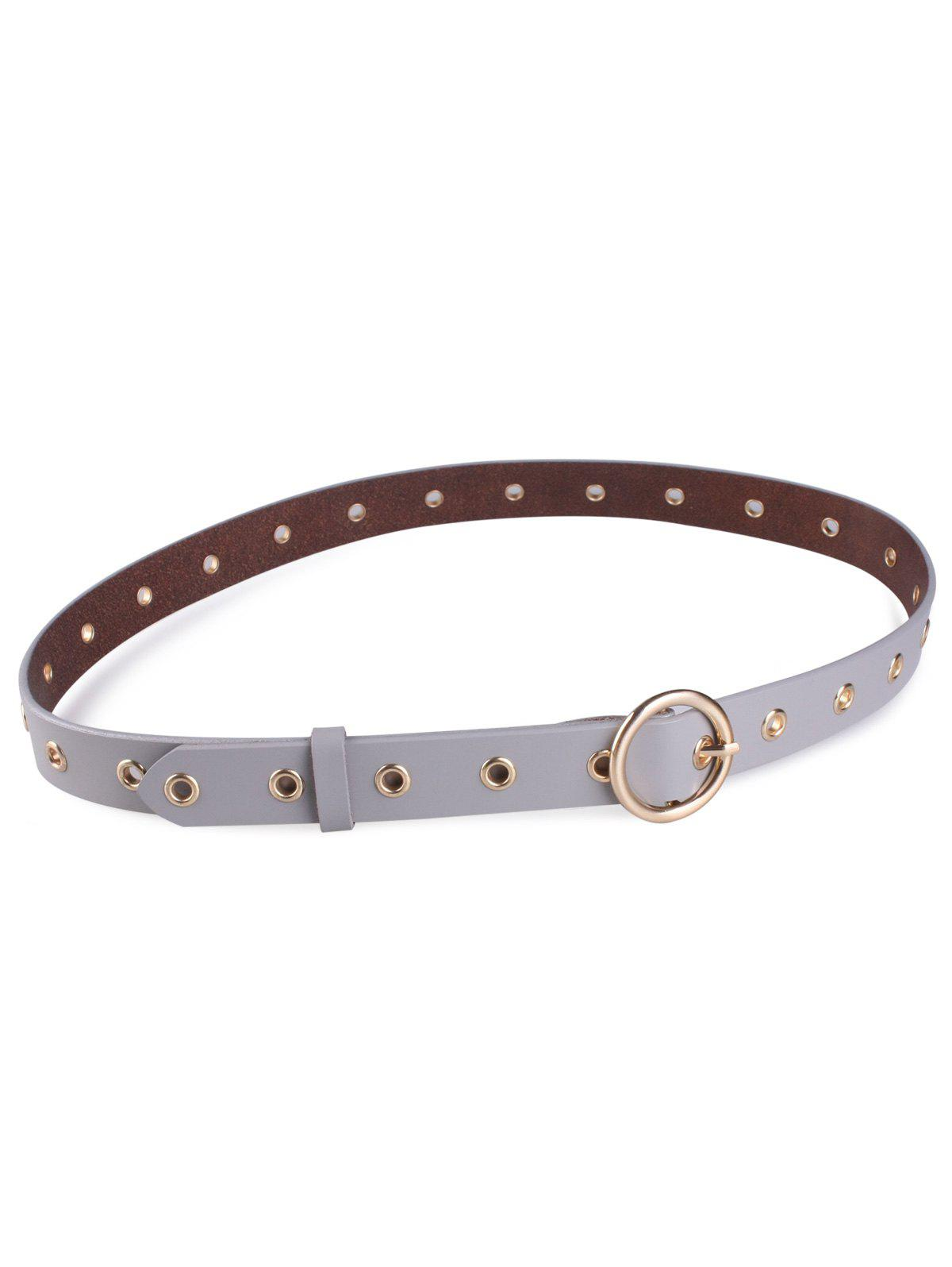 Metal Rings Round Buckle Faux Leather Belt - GRAY