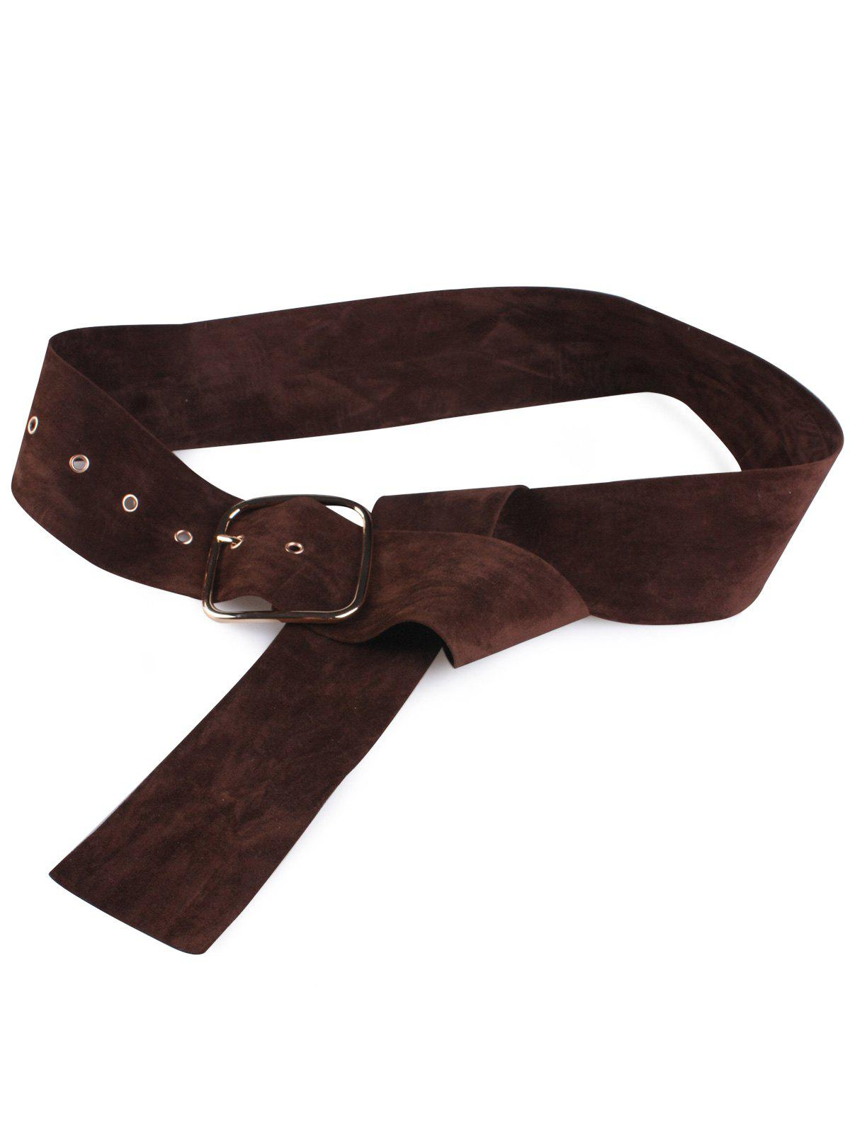Metallic Rectangle Pin Buckle Velvet Belt - COFFEE