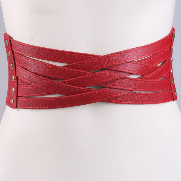 Artificial Leather Cross Bandage Elastic Corset Belt - RED