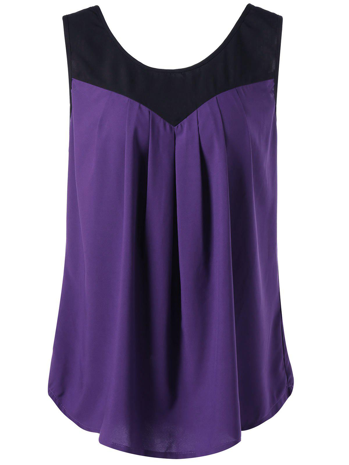 Plus Size Curved Two Tone Tank Top - PURPLE 2XL