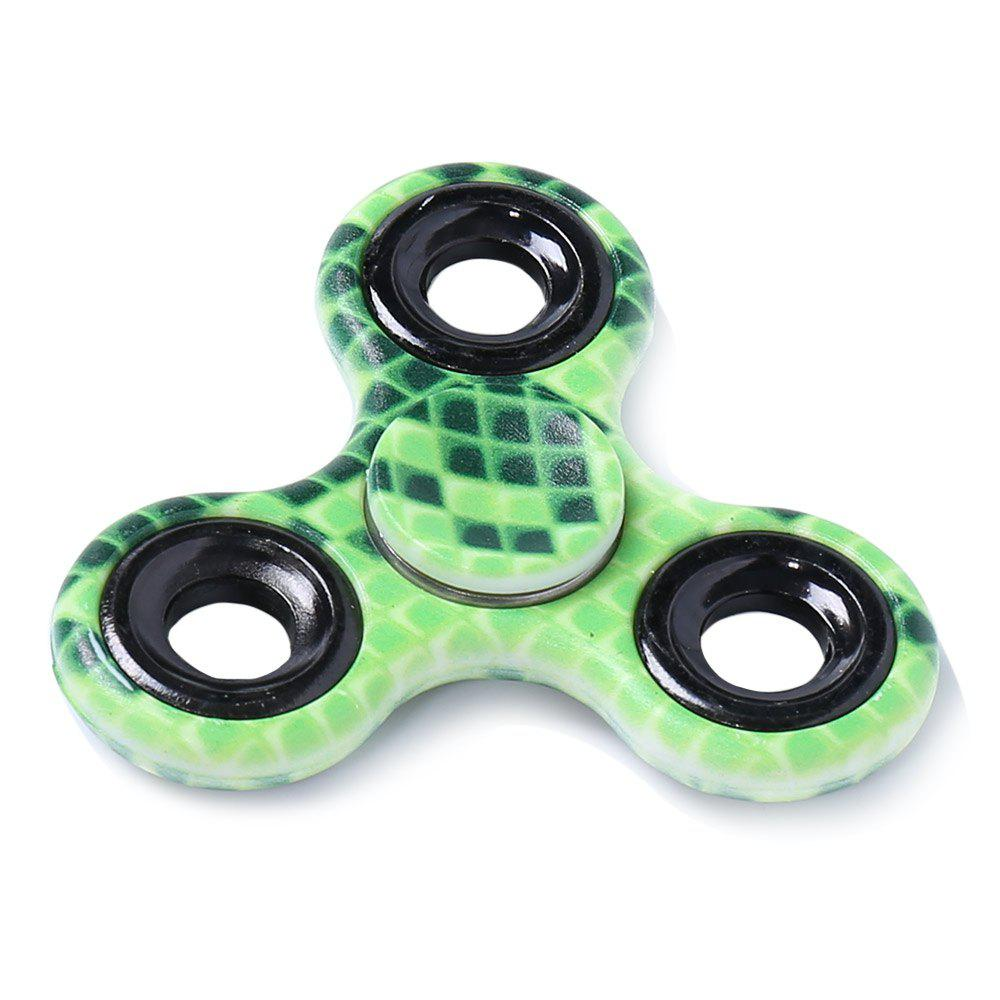 Focus Toy Printed Finger Gyro Stress Relief Plastic Fidget Spinner - GREEN