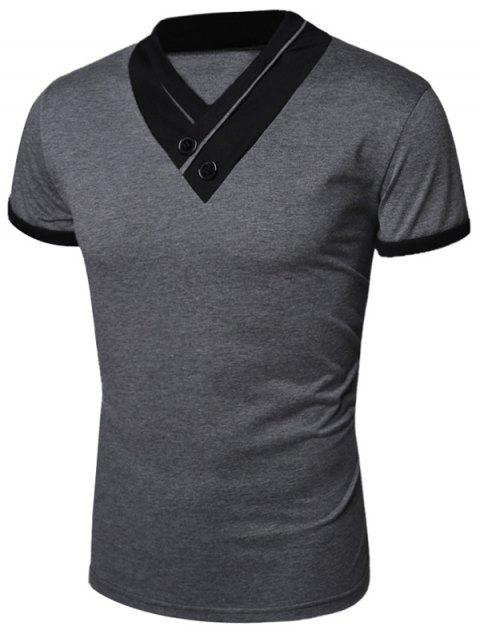 Shawl Collar Short Sleeve Buttons Embellished T-Shirt - GRAY L