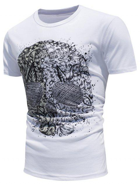Color Changing Skull Printing T-Shirt - WHITE XL
