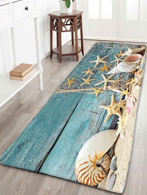 Nautical Starfish Print Flannel Antislip Bathroom Rug - BLUE W16 INCH * L47 INCH