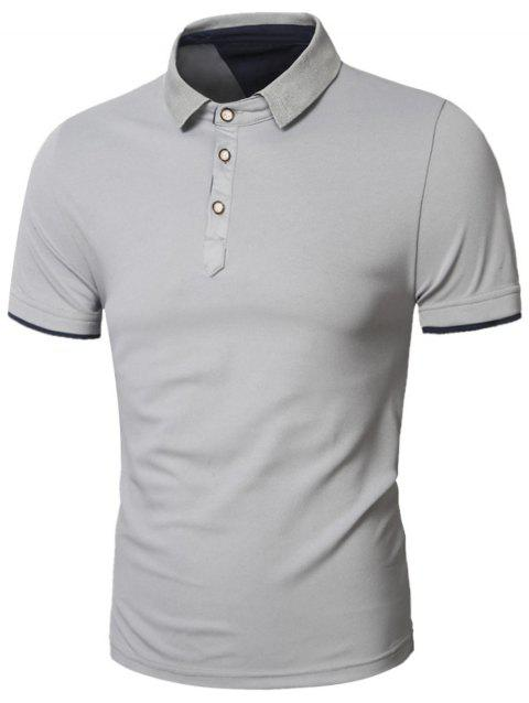 Slimming Panel Short Sleeve Polo T-Shirt - GRAY XL