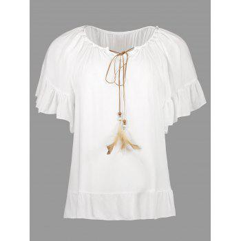 Pearl Feather Embellished Casual Top
