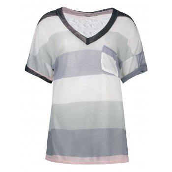Stripe Knit Pocketed Sheer Tee