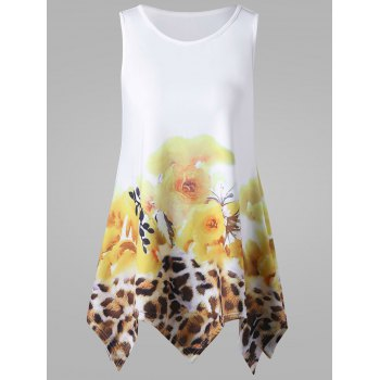 Floral and Leopard Handkerchief Tank Top