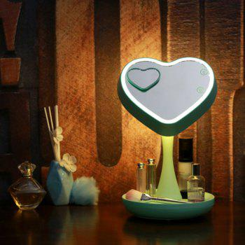 180 Degrees Rotate Heart Shape Makeup Mirror USB Desk Lamp