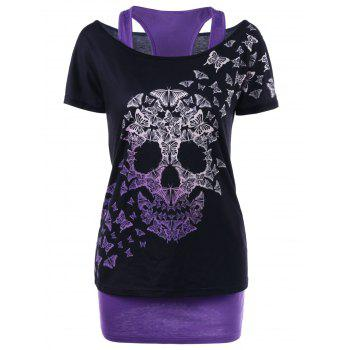 Butterfly Skull T-shirt with Tank Top