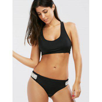 Crochet Panel Padded Bikini Set - BLACK BLACK