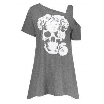 Plus Size Flower Skull Skew Neck T-Shirt
