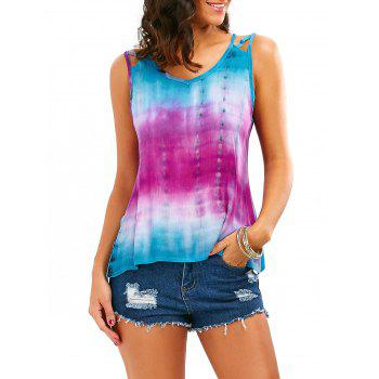 Sleeveless Tie-Dyed Print Baggy Blouse