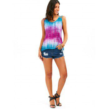 Sleeveless Tie-Dyed Print Baggy Blouse - M M