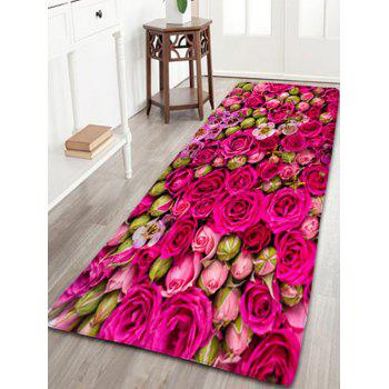 Wedding Water Absorption Flannel Bathroom Rug with Rose Print