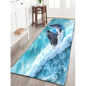 Skidproof Flannel Bathroom Rug with Nautical Dolphin Print