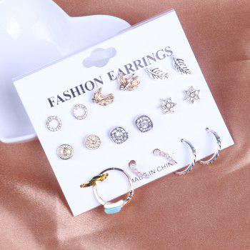 Leaf Bird Circle Stud Earring Set and Ring