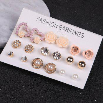 Rhinestone Faux Pearl Heart Flower Stud Earrings
