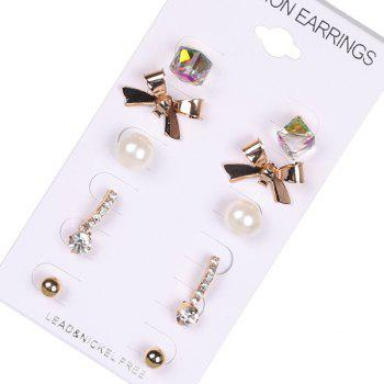 Artificial Pearl Bows Ball Stud Earring Set