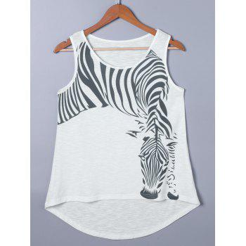 Zebra Print High Low Hem Tank Top