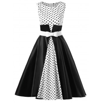 Polka Dot Tea Length 50s Dress with Belt