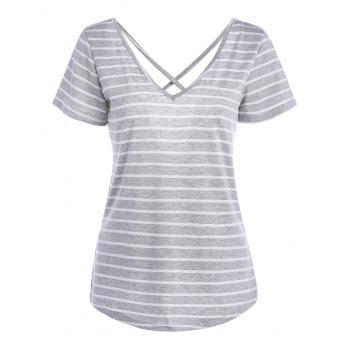 Stripe V Neck Criss Cross Back Tee