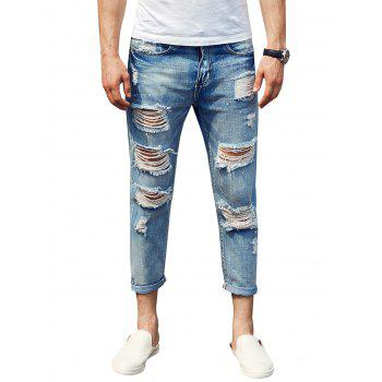 Cuffed Zipper Fly Distressed Jeans