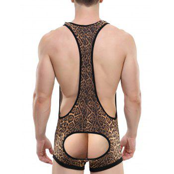 Hollow Out U Convex Pouch Tight Leopard Bodysuit - LEOPARD XL