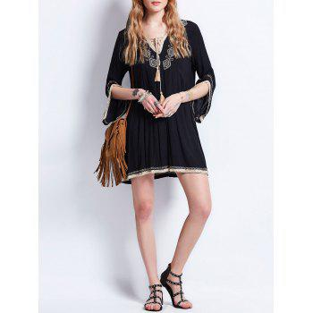 Bohemian Tassel Lace Up Embroideried Dress