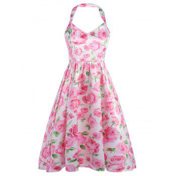 Halter Floral Print Backless Fit and Flare Dress